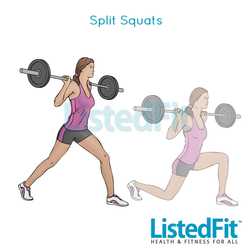How to get a Brazilian Butt Lift Without Surgery Legs-Female-split-squats