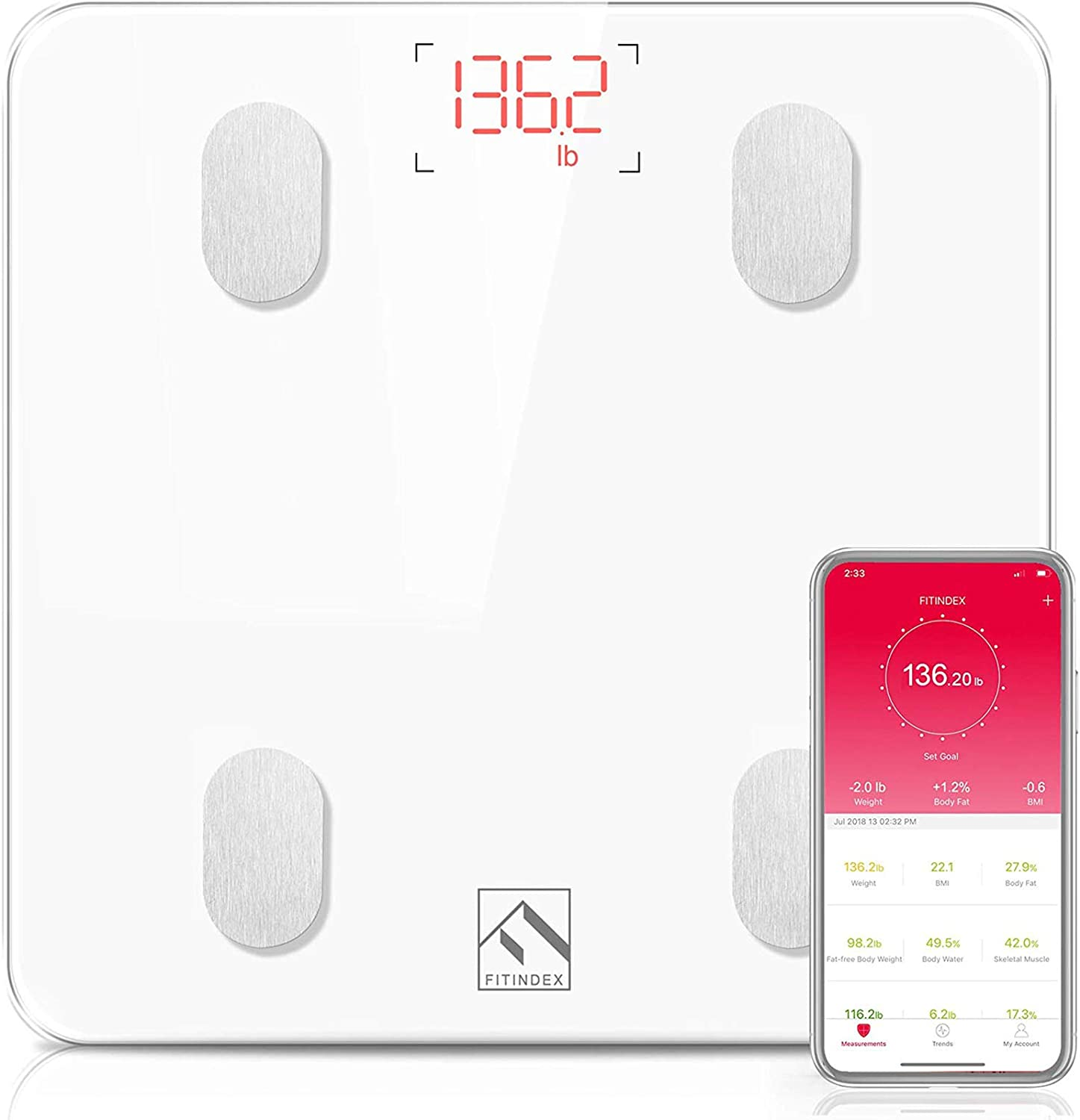 FITINDEX Bluetooth Body Fat Scale